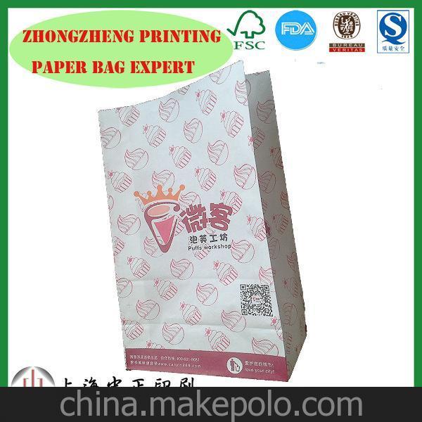厂家直销 50g防油 可六色印刷 (泡芙,蛋糕,甜甜圈食品纸袋)