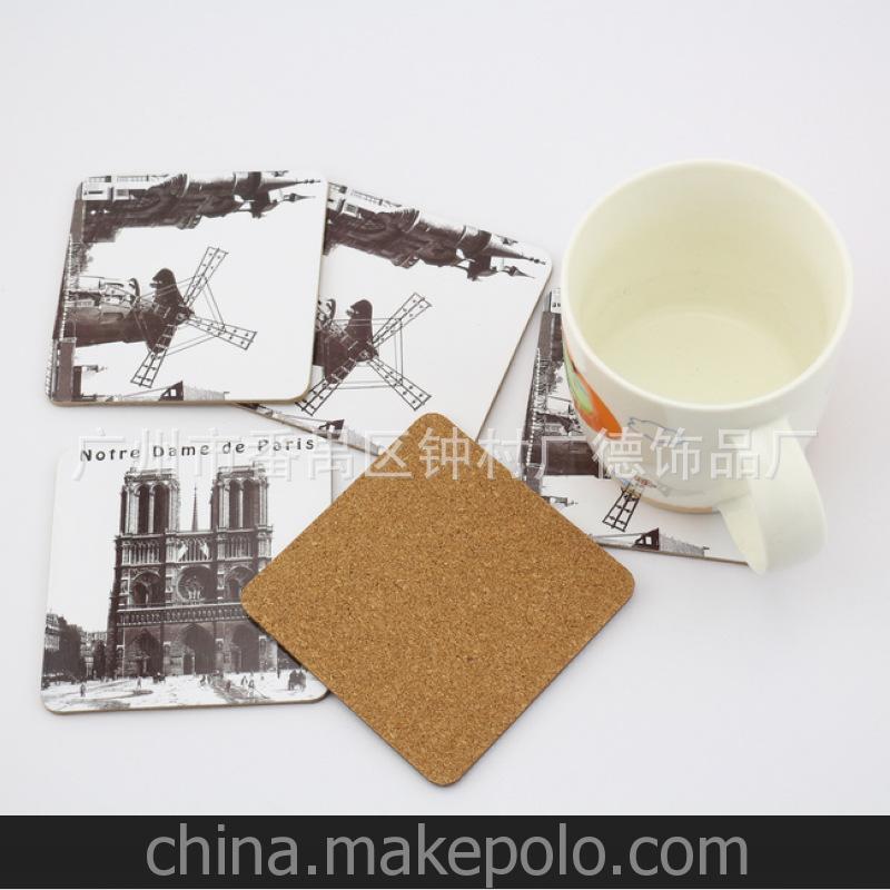 厂家直销礼品 灰板纸软木杯垫 来稿定制 1000起订 加印logo