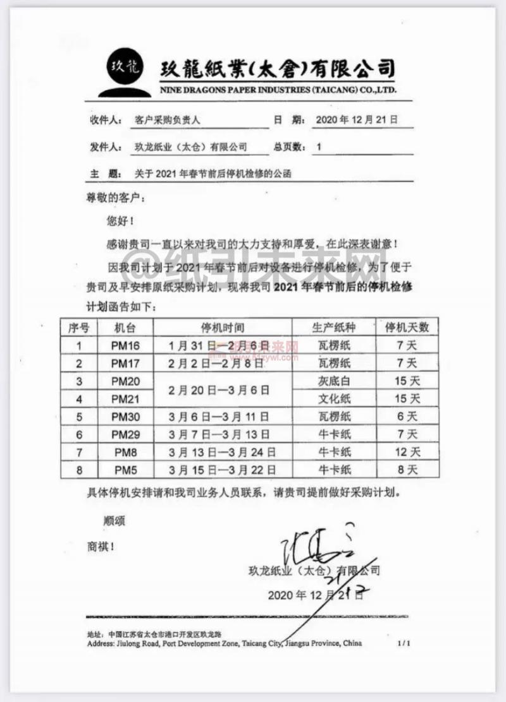 2021年太仓玖龙纸业春节停机检修计划